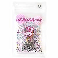 usausaのお店 カラフル文字のキューブ形数字(ハート、#、ナンバー0から9まで) のビーズ100個(7mm) と、カニカン付き 携帯ストラップ 用紐 5本セット(B306)