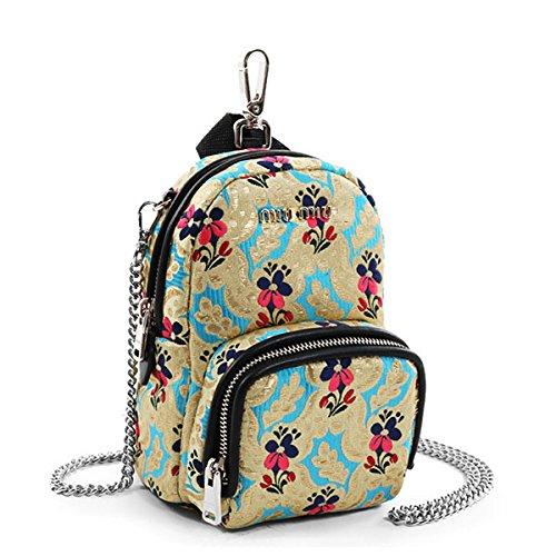miumiu ミュウミュウ 5BH039 1AHC F0TLL BANDOLIERA Micro backpack マイクロバックパック ショルダーバッグ ポシェット バッグチャーム ミニバッグ TURCHESE/ゴールド系マルチ [並行輸入品]