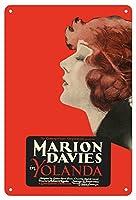 22cm x 30cmヴィンテージハワイアンティンサイン - ヨランダ - 主演 Marion Davies, Lyn Harding そして Holbrook Blinn - ビンテージなフィルム映画のポスター c.1924
