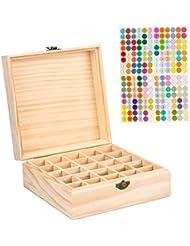 精油収納ケース 精油収納ボックス エッセンシャルオイル収納ボックス 香水収納ケース アロマオイル収納ボックス 和風 レトロ 大容量 携帯便利 木製 25本用
