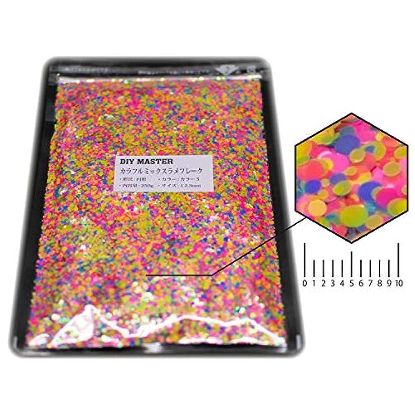 肺炎寄稿者離すDIY MASTER カラフルミックス ラメ フレーク カラー5 1.2.3mm 250g