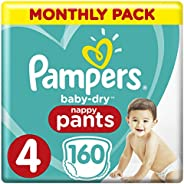 Pampers Baby-Dry Nappy Pants Size 4 Toddler, 160 Nappy Pants, 9 to 15kg, Monthly Pack