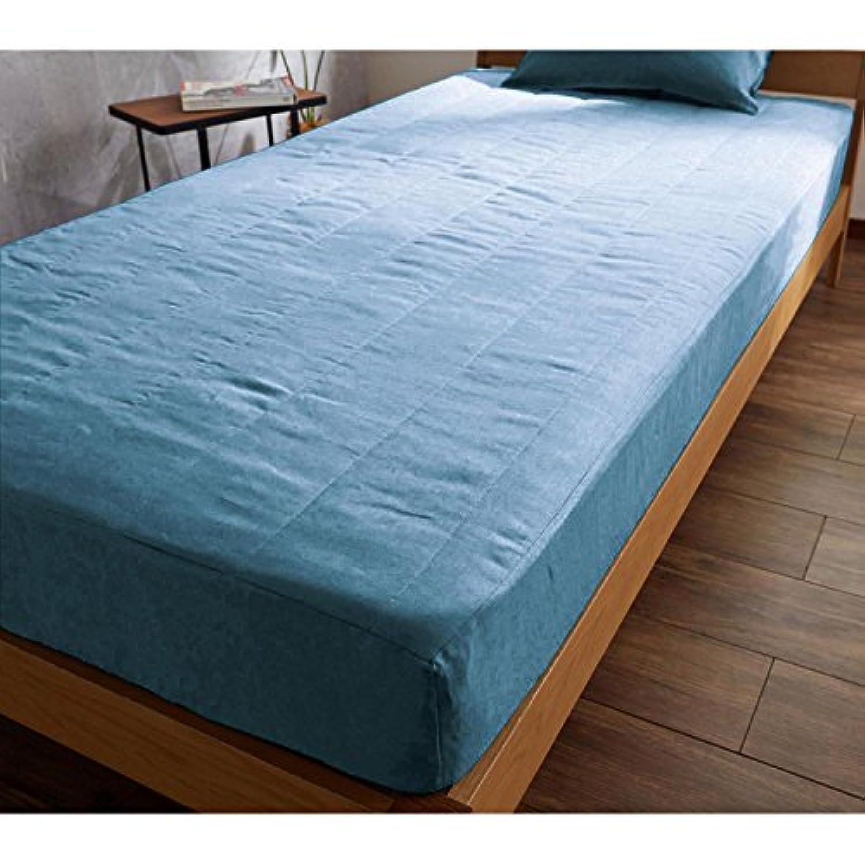 [ベルメゾン] フレンチリネンボックスシーツ型敷きパッド  アッシュブルー サイズ:セミダブル