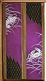 和風 風物詩のれん「海老と蟹」 幅85×丈150cm