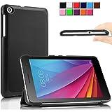 Infiland Huawei MediaPad 7 T1-701w 専用保護スマートケース 超薄型 超軽量 マグネット開閉式 三つ折 高級PU レザーケース(ブラック)