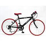 GRAPHIS(グラフィス)GR-001 クロスバイク 26インチ 6段変速 可動式ステム ブラック/レッド
