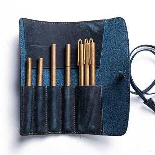 本革 ロール ペンケース 革 大容量 レザー 革 筆箱 ペン入れ 筆入れ 革巻タイプ (ネイビー (Blue))