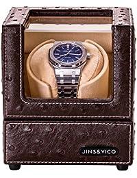 JINS & VICO ワインディングマシーン 1本巻き 自動巻き器 腕時計収納ケース 静音設計ウォッチワインダー レザー ブラウン