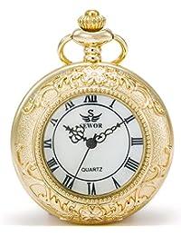 Seworブロンズ復古中空石英 クォーツ懐中時計と2つのタイプのチェーンで(レザーメタル)