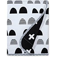 ジャージーニットリバーシブル毛布Scallop – クラウド島 – ブラック/ホワイト