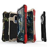 GalaxyS9 Galaxy S9 Plus アルミケース 耐衝撃シリコン メタルケース 頑丈 ギャラクシーS9メタル バンパー メンズ アウトドア Galaxy S9/Galaxy S9 Plus ケース アルミニウム合金 ストラップホール付き おしゃれ かっこういい (GalaxyS9Plus, 黒+赤)
