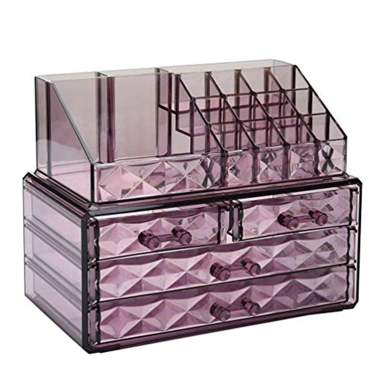 部屋を掃除するハブブ海賊Anberotta コスメボックス メイクボックス収納 化粧品収納ケース 透明 卓上マルチ収納 引き出し 小物入れ 大容量 J60 (パープル?タイプA)