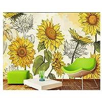 手描きのひまわり、リビングルームの台所のための3D壁画壁紙ウォールアートデコレーションポスター200cm(W)×140cm(H)