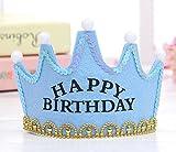 【ELEEJE】 HAPPY BIRTHDAY LED 光る 王冠 クラウン & メガネ & 音楽 付き バースデー カード セット 誕生日 パーティー グッズ (スカイブルー/ブルー)