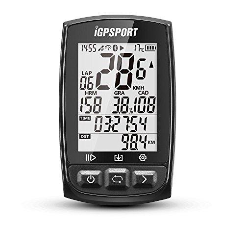 GPS自転車コンピュータANT+機能付きiGPSPORT iGS50E大画面サポートのサイクルコンピュータハートレートモニタとスピードケイデンスセンサ接続 - ブラック
