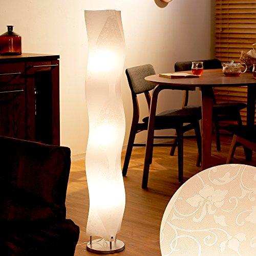 LOWYA (ロウヤ) フロアライト スタンドライト 照明 フットスイッチ 120×20cm ウェーブタイプ 花柄シェード おしゃれ 新生活