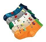 kinokoo 子供用 靴下 ソックス 5足セット 可愛い模様 綿 男の子 女の子 ベビー 1~12歳 (7~13 cm, 09)