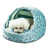 SOROS 小型犬 猫用 ペットベッド マット ふかふかハウス クッション 可愛い 秋冬 冬用 防寒 洗える ドーム型 ふわふわ 暖かい ベッド Sサイズ (ブルー)