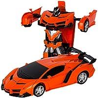 変形玩具車 車のおもちゃ リモートコントロールカー ロボット 遠隔操作 子供の好きなギフト (オレンジ) [並行輸入品]
