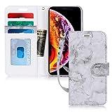 iPhone XS Max ケース,FYY 手帳型 カード収納 ストラップ付き スタンド機能 耐衝撃 ハンドメイド PUレザー 大理石柄 iPhone XS Max (6.5インチ) 2018 対応 スマホケース (ブラック)