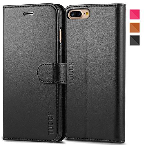 iPhone 7 Plus ケース 手帳型 [TUCCH] PUレザー ケース カード収納 スタンド機能付き マグネット式 アイフォン7 Plus 5.5インチ 用 財布型 カバー ブラック