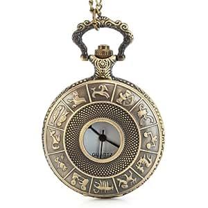 十二星座のアンティーク懐中時計ネックレス ペンダントウォッチ