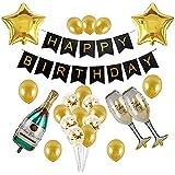 ブラックとゴールド パーティーデコレーション ハッピーバースデー バナー シャンパンボトルとカップ ゴールデンスター 紙吹雪とゴールドバルーン