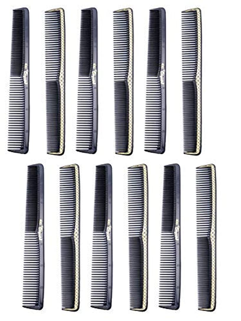 7 inch All Purpose Hair Comb. Hair Cutting Combs. Barber's & Hairstylist Combs. Black With Gold. 12 Units. [並行輸入品]