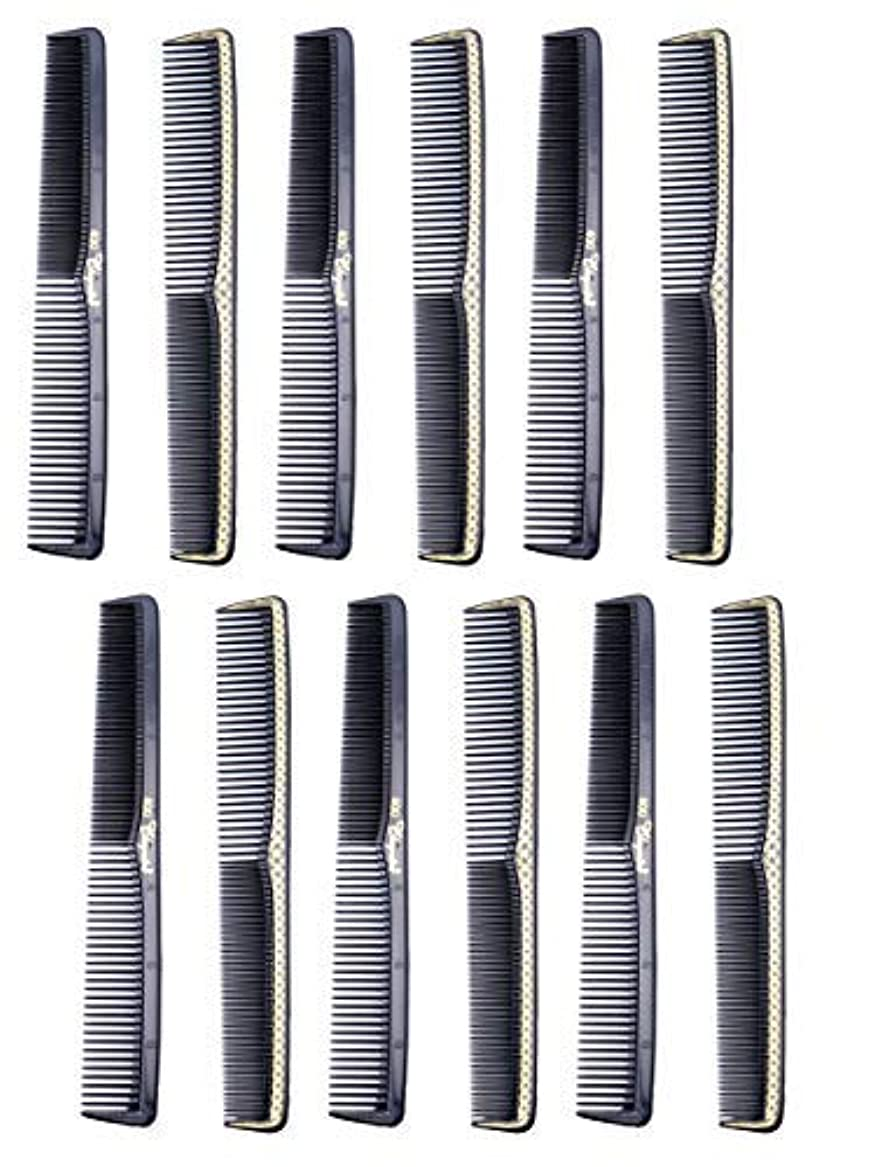 学ぶ驚電子7 inch All Purpose Hair Comb. Hair Cutting Combs. Barber's & Hairstylist Combs. Black With Gold. 12 Units. [並行輸入品]