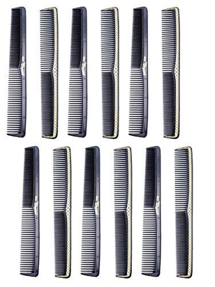 外交官葉を拾う先駆者7 inch All Purpose Hair Comb. Hair Cutting Combs. Barber's & Hairstylist Combs. Black With Gold. 12 Units. [並行輸入品]