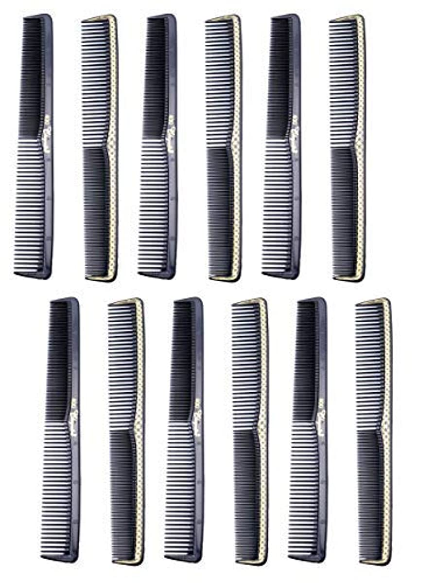 たぶんピクニック潜在的な7 inch All Purpose Hair Comb. Hair Cutting Combs. Barber's & Hairstylist Combs. Black With Gold. 12 Units. [並行輸入品]