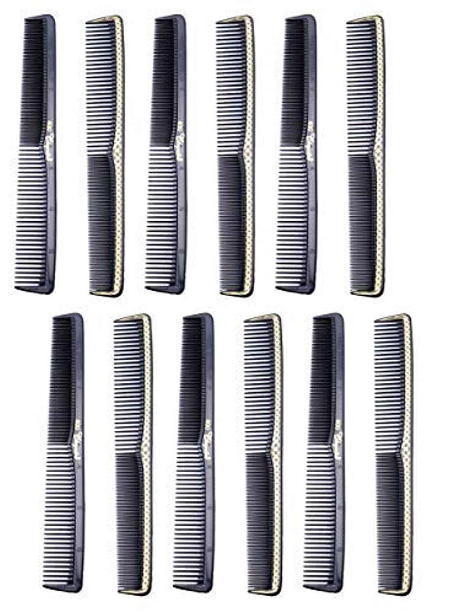 警戒アクセルスケジュール7 inch All Purpose Hair Comb. Hair Cutting Combs. Barber's & Hairstylist Combs. Black With Gold. 12 Units. [並行輸入品]