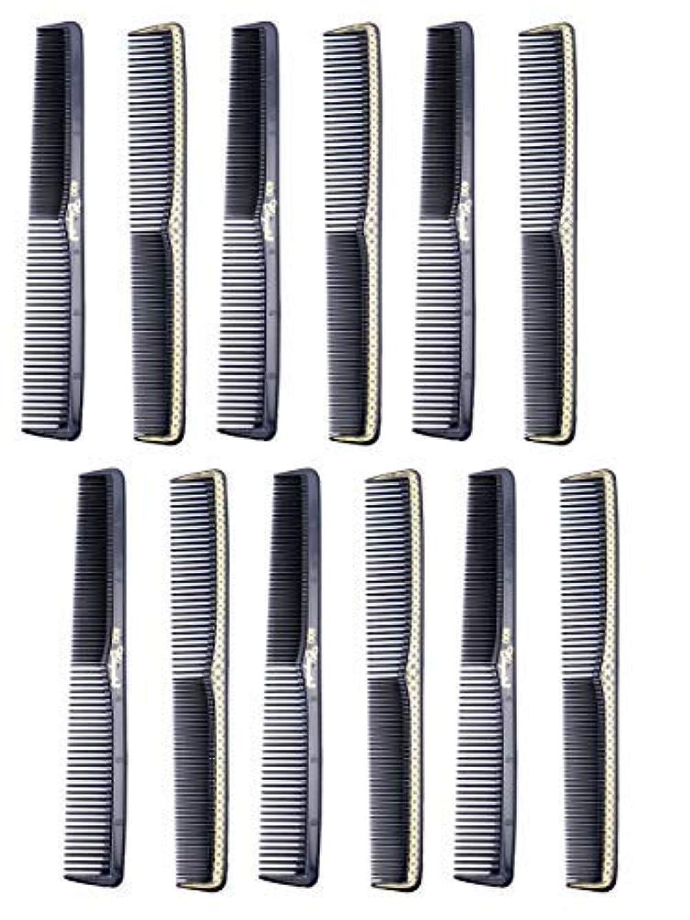 所属近傍露骨な7 inch All Purpose Hair Comb. Hair Cutting Combs. Barber's & Hairstylist Combs. Black With Gold. 12 Units. [並行輸入品]