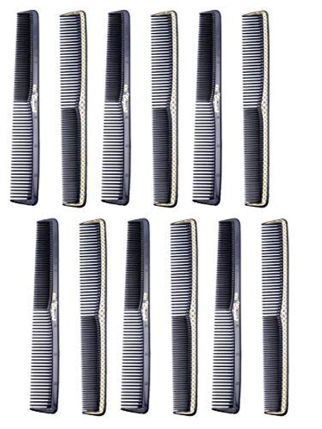 探偵ミッション死傷者7 inch All Purpose Hair Comb. Hair Cutting Combs. Barber's & Hairstylist Combs. Black With Gold. 12 Units. [並行輸入品]
