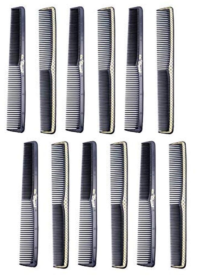 少ないスキャンダラスうれしい7 inch All Purpose Hair Comb. Hair Cutting Combs. Barber's & Hairstylist Combs. Black With Gold. 12 Units. [並行輸入品]