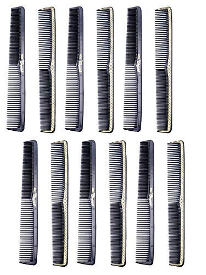 風ネックレットゴム7 inch All Purpose Hair Comb. Hair Cutting Combs. Barber's & Hairstylist Combs. Black With Gold. 12 Units. [並行輸入品]