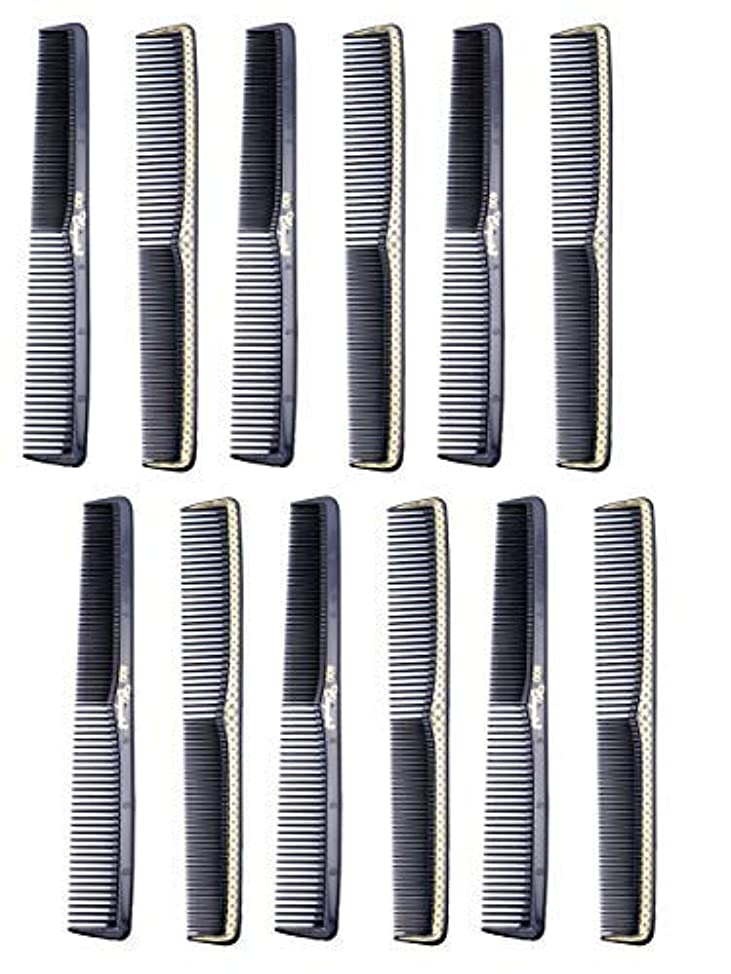 愛人十一線7 inch All Purpose Hair Comb. Hair Cutting Combs. Barber's & Hairstylist Combs. Black With Gold. 12 Units. [並行輸入品]