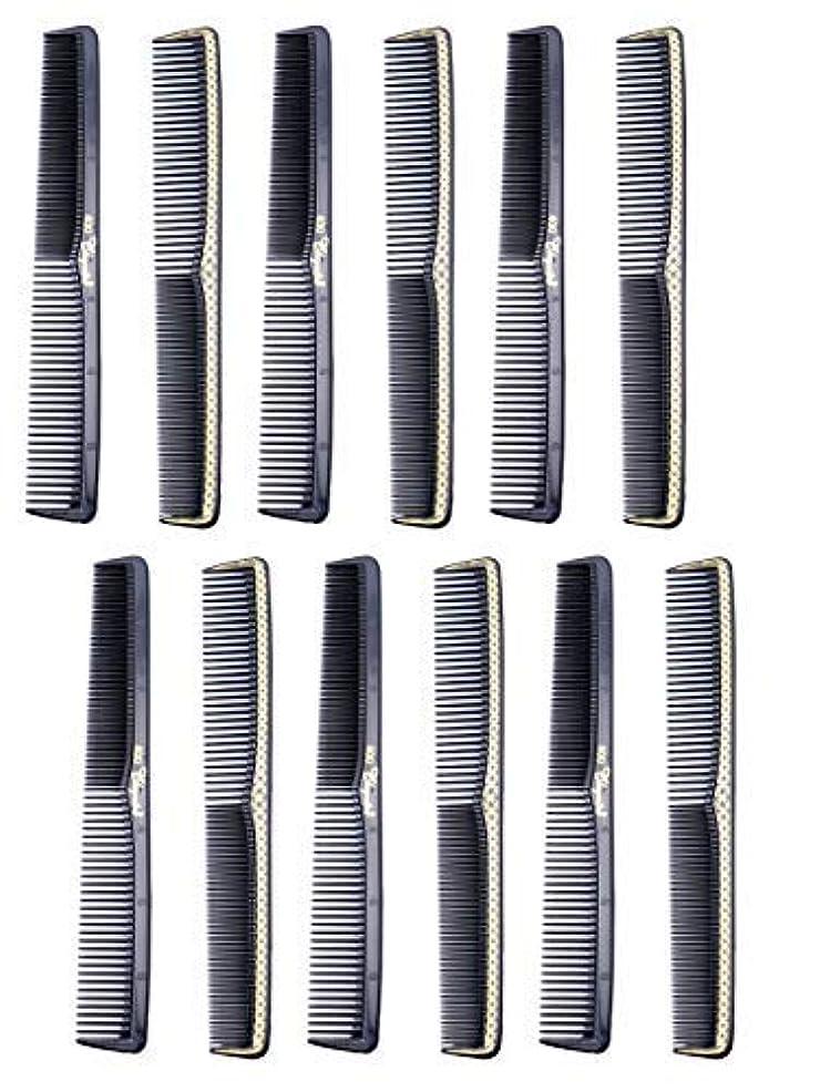 香りカーテン練習した7 inch All Purpose Hair Comb. Hair Cutting Combs. Barber's & Hairstylist Combs. Black With Gold. 12 Units. [並行輸入品]