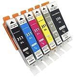 monoBlanc. [インクカートリッジ] canon (キャノン) プリンター インク 5色6本セット [BCI-351XL+BCI350XL] 互換インクカートリッジ 2019 (ICチップ 残量表示機能あり) 令和