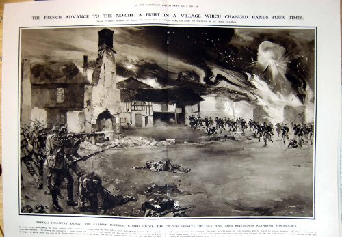 フランスの歩兵はドイツ人の皇太子再撮影 Sommesous1914 を敗北させます