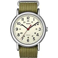 Timex Unisex Weekender Slip Through Nylon Strap Watch Cream/Silver/Olive