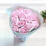 Yobansa 造花 フレグランス ソープフラワー プレゼント 花束 石鹸 薔薇 枯れない 花 バラ ブーケ プレゼント 結婚祝い 誕生日 母の日 父の日 定年祝い 還暦祝い 新築祝い 送別会 メッセージカード付き (ピンクのバラ)