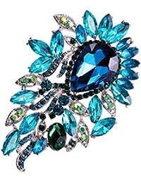 【ノーブランド 品】キラキラ 大きな水滴形 宝石 ラインストーン  ブローチピン ブローチ 水色