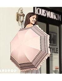 ピンクレディースSun / Rain傘レース女性用雨傘ultraviolet-proof Fold