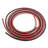 シリコンワイヤー,SODIAL(R)12 AWG 10フィート(3m)ゲージ シリコーンワイヤー フレキシブル 銅製ケーブル  RCのため 黒+赤