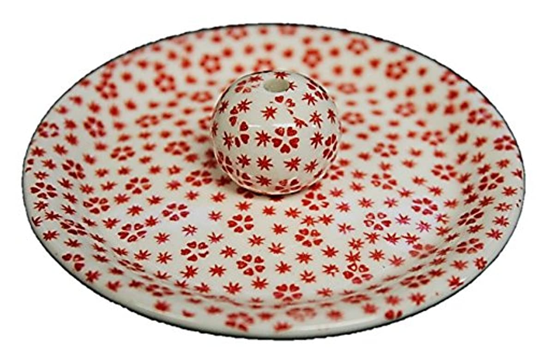 公平な討論バスト9-40 桜小紋 赤 9cm香皿 お香立て お香たて 陶器 日本製 製造?直売品