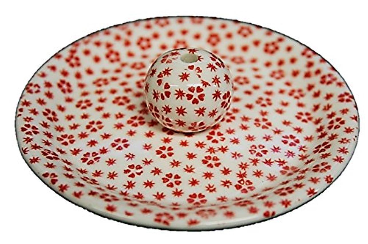 9-40 桜小紋 赤 9cm香皿 お香立て お香たて 陶器 日本製 製造?直売品