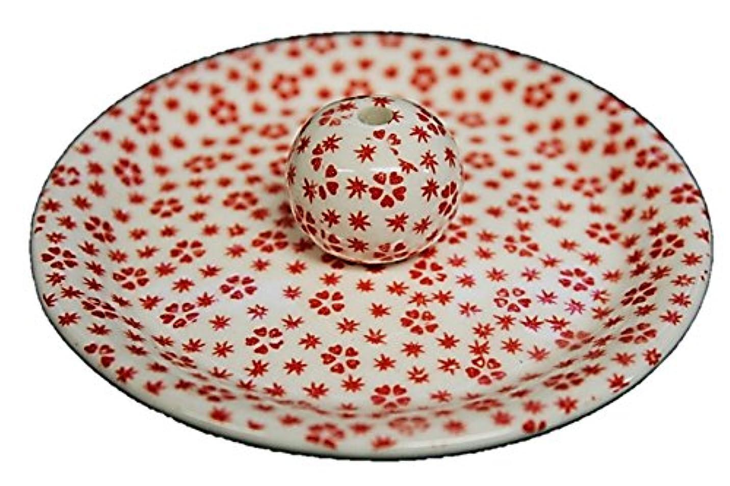 ゴルフたくさんリーン9-40 桜小紋 赤 9cm香皿 お香立て お香たて 陶器 日本製 製造?直売品