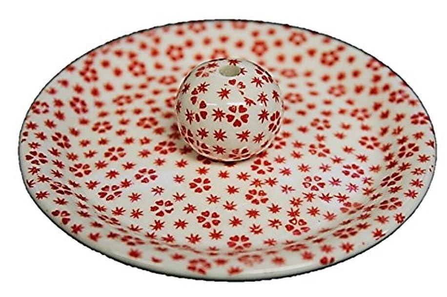 静めるいくつかのチロ9-40 桜小紋 赤 9cm香皿 お香立て お香たて 陶器 日本製 製造?直売品