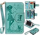 iPhoneSE 5 5s ケース カード収納 手帳型 ウォレット型 スタンド機能 ケース ストラップ付き 落下防止 マグネット開閉式 財布型 カバー iPhone SE iPhone 5 5s ケース (P1 グリーン)